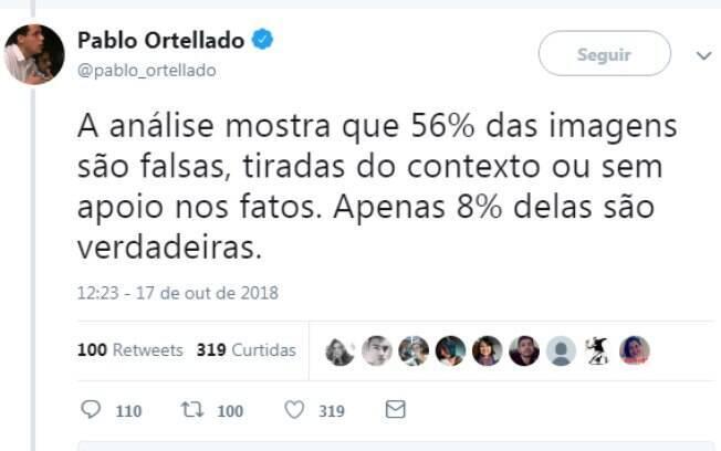 No Twitter, o professor Pablo Ortellado (USP) explica o levantamento feito baseado com informações do aplicativo WhatsApp