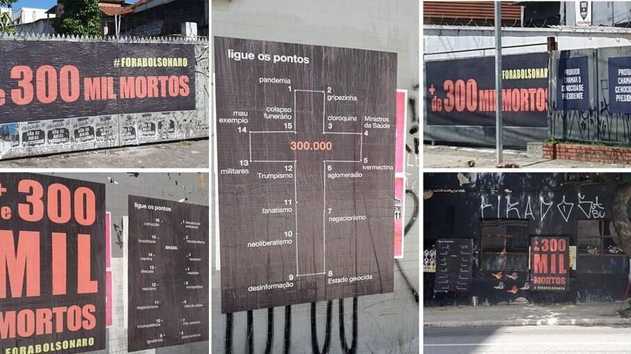 Os cartazes denunciam as mortes pela Covid-19 no Brasil