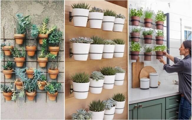 Com vasos pequenos, é possível criar um jardim vertical delicado que pode até ficar na cozinha, cultivando temperos