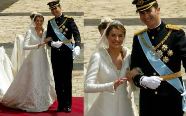 A rainha Letizia da Espanha escolheu Manuel Pertegaz para fazer seu vestido de noiva em 2004