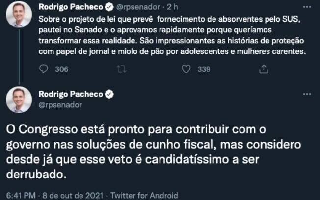 Pacheco diz considerar o veto