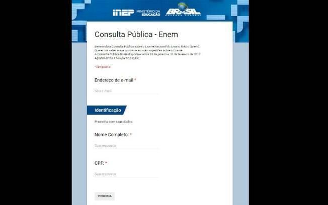 Segundo o Inep, até esta quinta-feira (9), cerca de 414 mil pessoas participaram da consulta pública sobre o Enem
