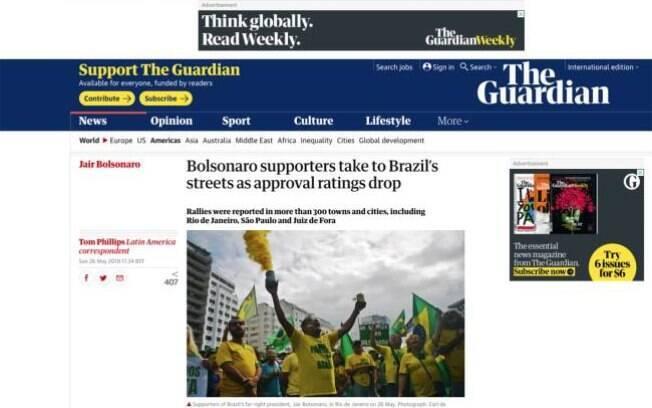 O jornal The Guardian repercute as manifestações em apoio a Bolsonaro