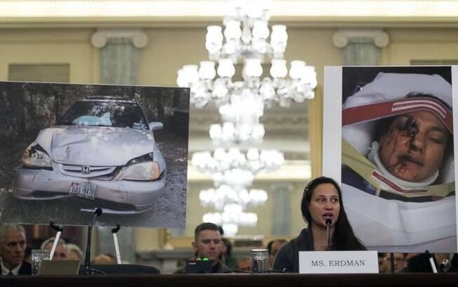 Stephanie Erdman, uma das pessoas feridas pelo airbag da Takata. Um fragmento do equipamento instalado em seu Honda Civic atingiu seu olho.