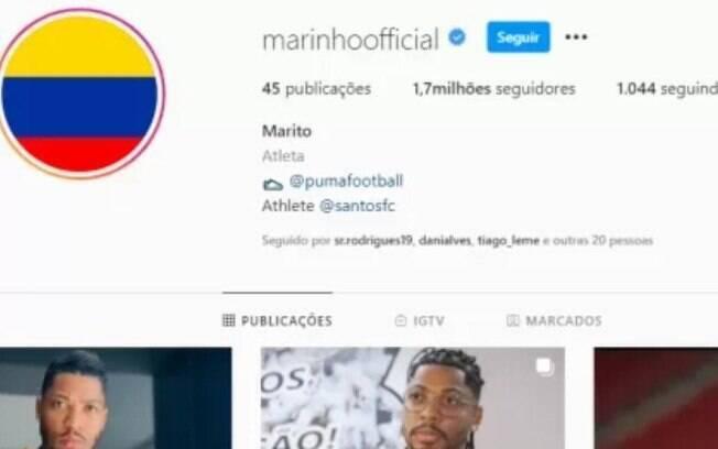 Marinho colocou bandeira da Colômbia em seu Instagram
