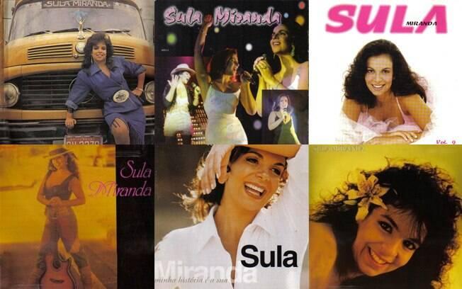 Algumas das mais de 18 capas de discos de Sula Miranda