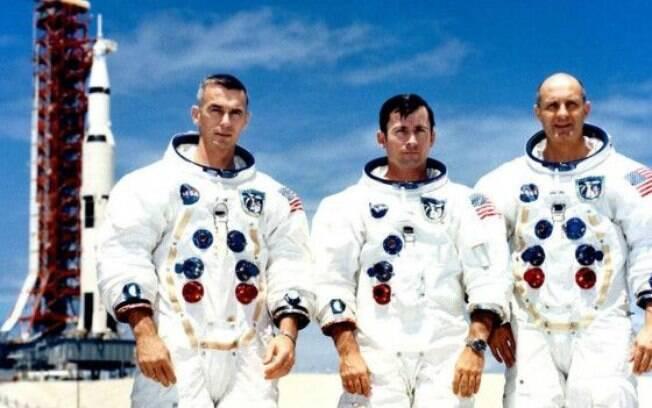 Eugene Cernan, John Young e Thomas Stafford em 13 de maio de 1969