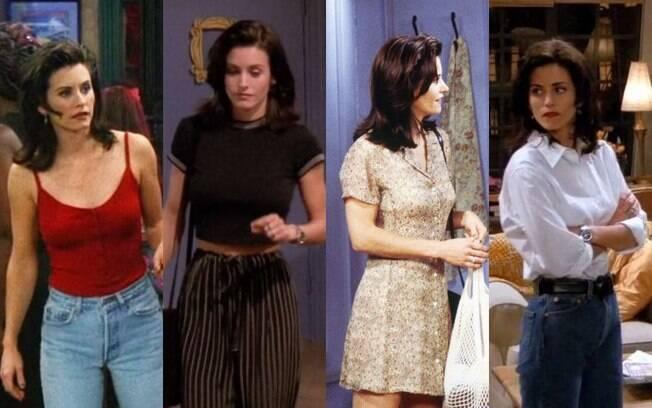 Monica Geller segue um estilo mais 'básico chic', mas sem deixar de estar por dentro das principais tendências da época