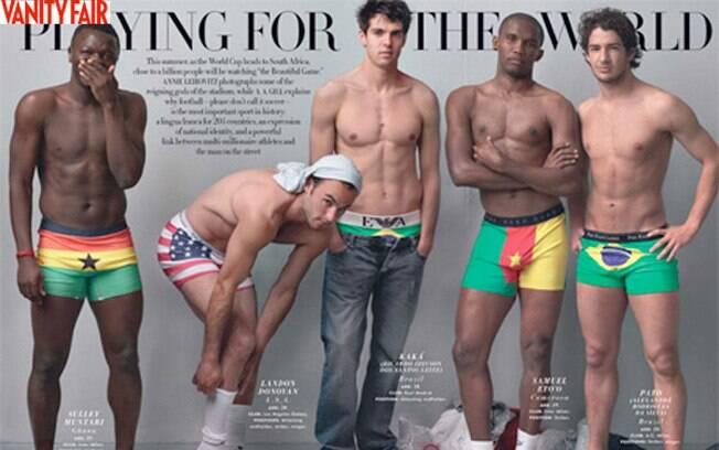 Kaká, Donavan (EUA), Eto'o (Camarões) e Muntari (Gana) foram os os outros jogadores que posaram com Alexandre Pato