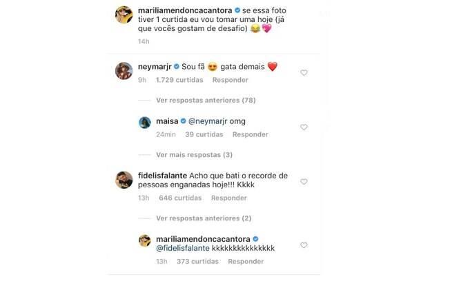 Marília Mendonça recebe elogio de Neymar