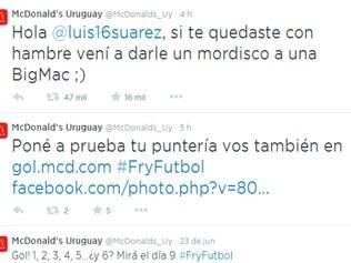 Perfil oficial da rede de Fast-food entrou na brincadeira e convidou o jogador do Uruguai para morder um BigMec