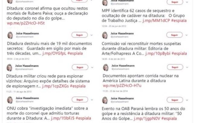 Joice Hasselmann apagou tweets em que criticava a ditadura militar