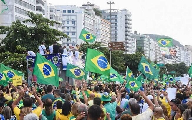 Manifestação a favor do presidente Bolsonaro no Rio de Janeiro