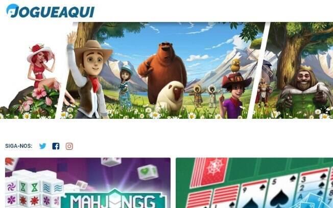 Interface da página do jogueAqui