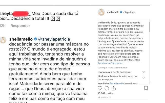 Sheila Mello rebate critica de seguidora e faz desabado em nova publicação na sua conta do Instagram