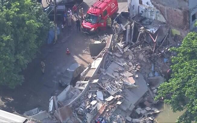 Imagem aérea do desabamento no Rio de Janeiro