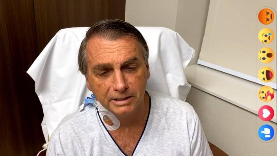 Jair Bolsonaro enquanto esteve internado em hospital com uma obstrução intestinal na semana passada