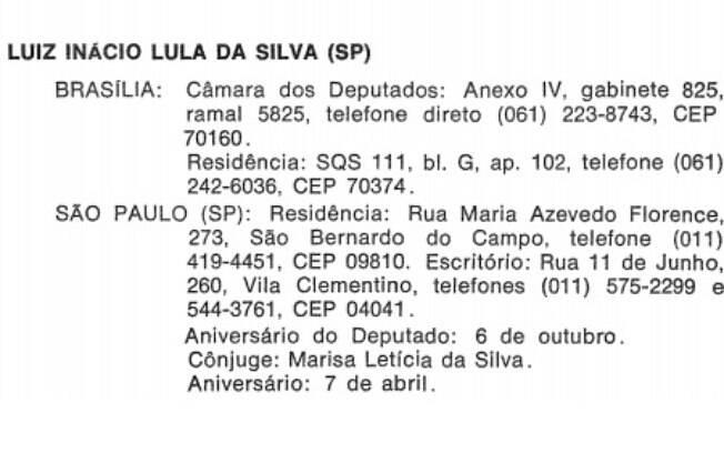 Nome de Lula no livro de registros da Câmara dos Deputados: petista ficou no gabinete 825