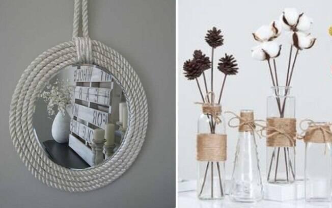 As cordas podem ser utilizadas de diferentes maneiras na decoração, como podemos perceber nas imagens acima