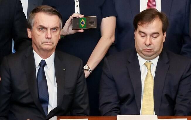 Jair Bolsonaro e Rodrigo Maia esbanjaram cortesia após atrito