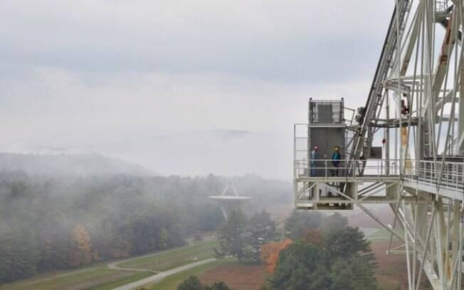 A vista a partir do telescópio GBT: o telescópio menor é operado pela mesma equipe e as montanhas funcionam como uma barreira para os sinais externos
