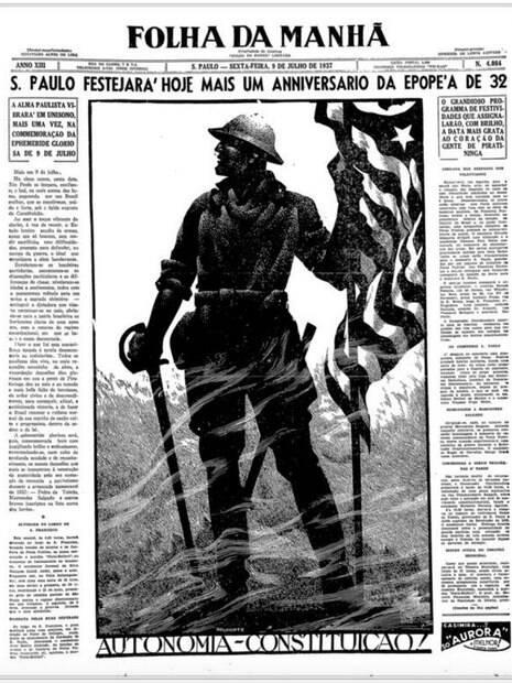 Capa do Jornal Folha da Manhã de 9 de Julho de 1937, comemorando com orgulho o quinto ano da Revolução de 1932
