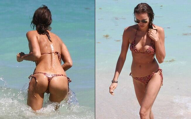 Irina Shayk mostrou boa forma em uma praia de Miami