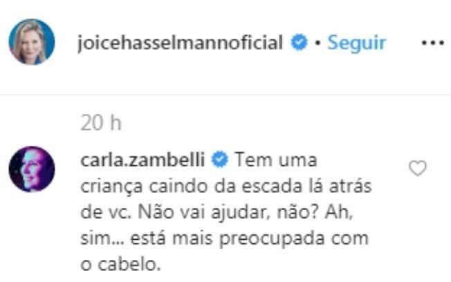 Carla Zambelli comentou a publicação de Joice no Instagram