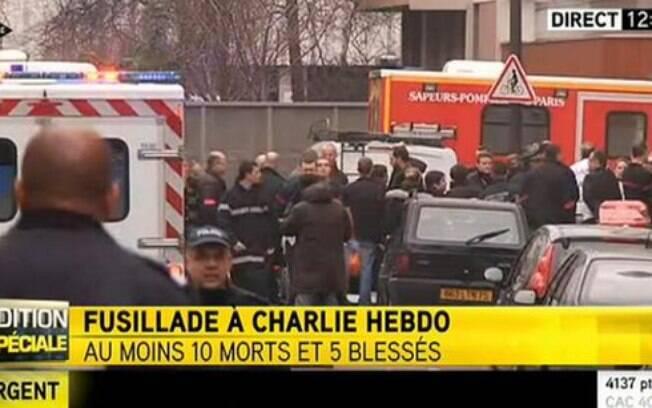 Sede da revista Charlie Hebdo é atacada em Paris, França. Foto: Reprodução/Twitter