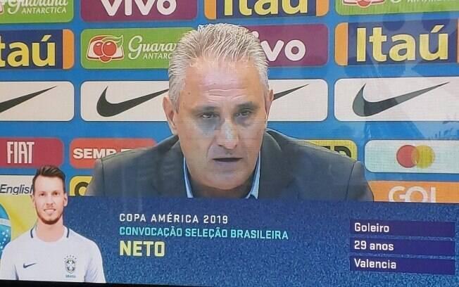 O SporTV cometeu gafe ao anunciar que Neto, goleiro do Valência, havia sido convocado para a Copa América.