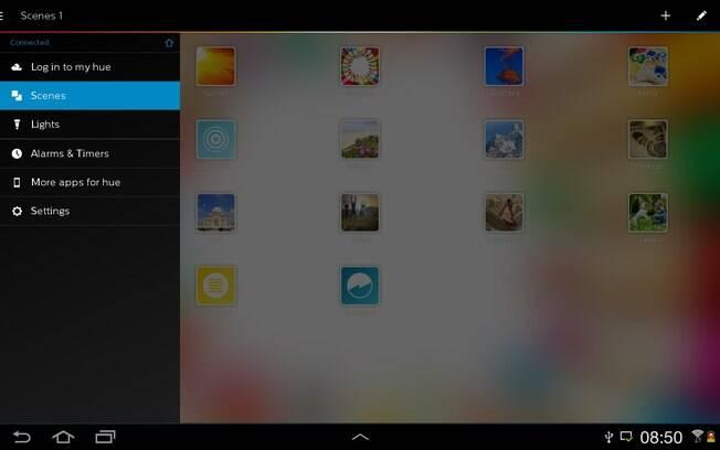 Controle das lâmpadas Hue é feito pelo aplicativo. Na esquerda, fica o menu de funções. Foto: Divulgação