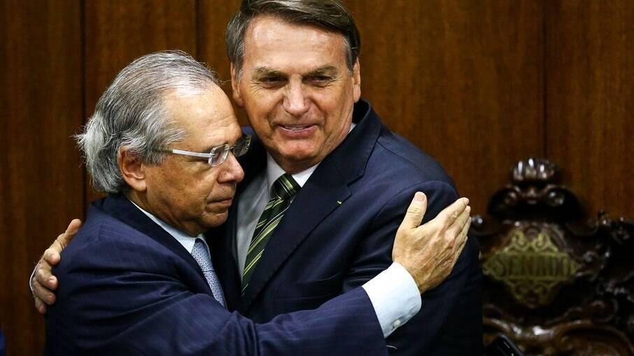 Ministro da Economia Paulo Guedes e o presidente Jair Bolsonaro