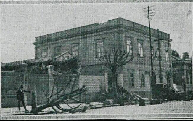 Quartel do 4º Batalhão da Força Pública (hoje, 4º BPM/I) que se localizava na Av. Tiradentes, esquina com Rua dos Bandeirantes, durante a Revolução de 1924