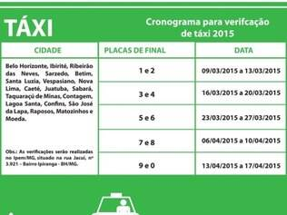 Cerca de nove mil táxis da Grande BH serão vistoriados em abril