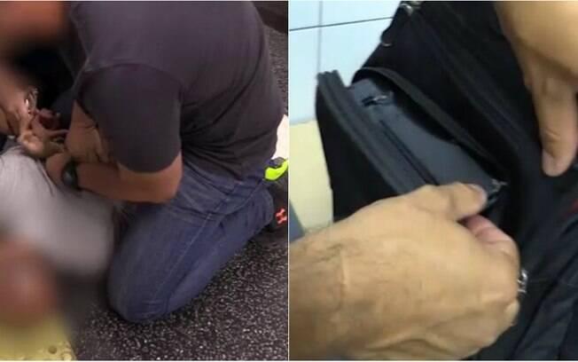 Homem foi preso por filmar sob saia de mulheres com celular escondido na mochila