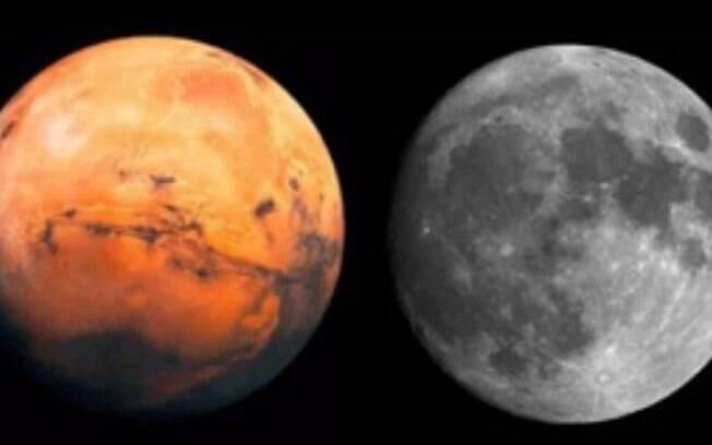 Mitos sobre o universo: Lua dupla em agosto; Marte se aproxima da Terra, porém não é visto do mesmo tamanho  que a Lua
