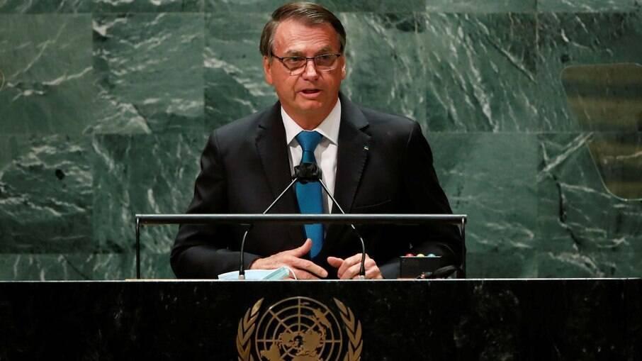 O presidente Bolsonaro durante seu discurso na ONU