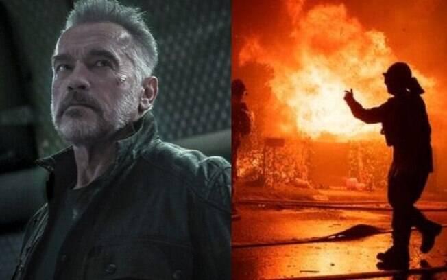 Arnold Schwarzenegger  precisou deixar sua casa devido a incêndio em Los Angeles