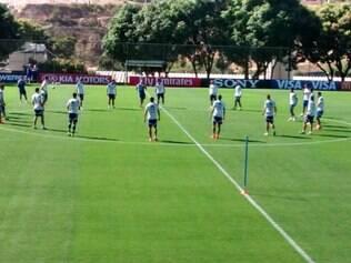 No treino desta sexta-feira só foi possível ver o aquecimento dos jogadores argentinos na Cidade do Galo