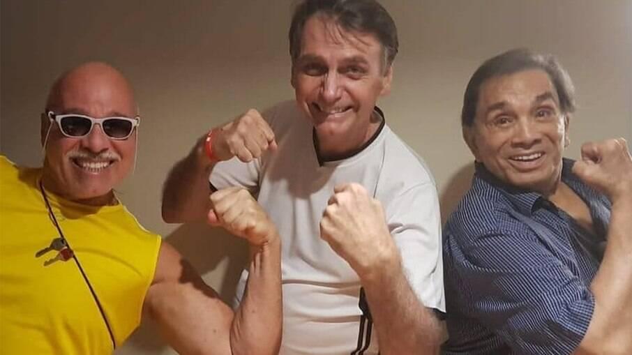 Dedé Santana, Jair Bolsonaro e o humorista Paulo Cintura