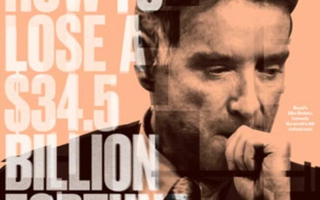 Capa da Bloomberg Businessweek de 3 de outubro de 2013, ironiza declínio de Eike Batista. Foto: Reprodução