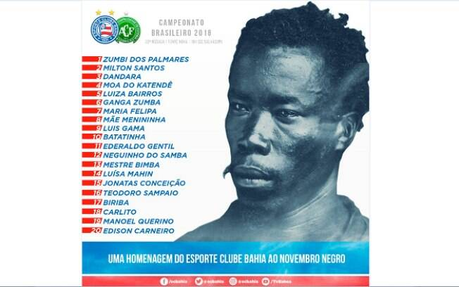 O Bahia homenageia mês da Consciência Negra em suas camisas diante da Chapecoense