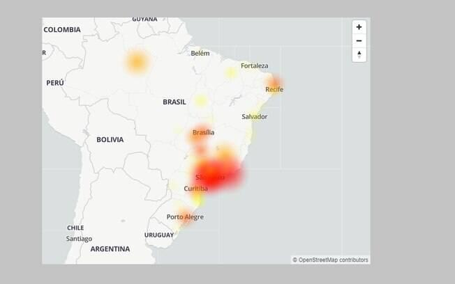 Site Down Detector mostra loclaizações que mais registraram queixas contra a Claro nesta segunda-feira