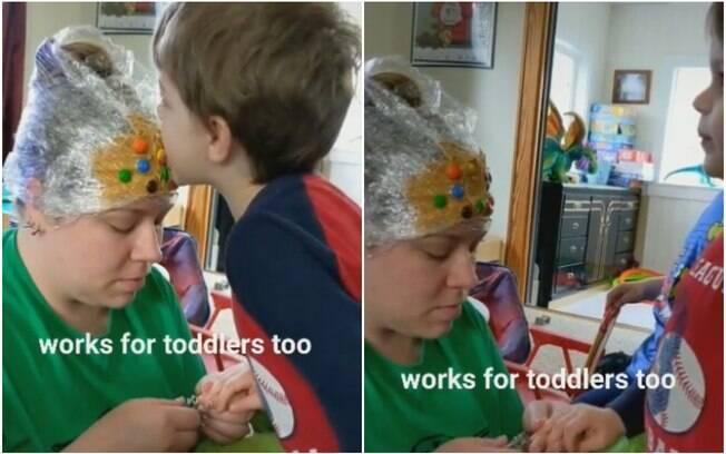 mãe com pasta de amendoim na cabeça cortando a unha do filho