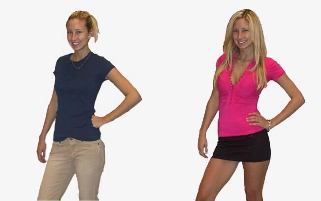 A mesma modelo com duas roupas diferentes: mulheres reagiram com hostilidade ao segundo visual
