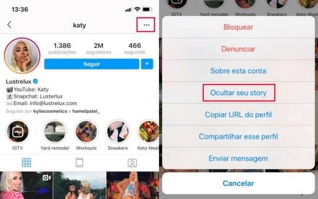 Ocultar stories do Instagram: vá diretamente no perfil do seguidor e encontre a opção de ocultar story
