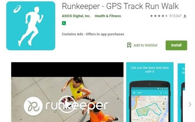 Aplicativos fitness: o RunKeeper é uma app focado em corrida mostrando o percurso que o usuário percorreu