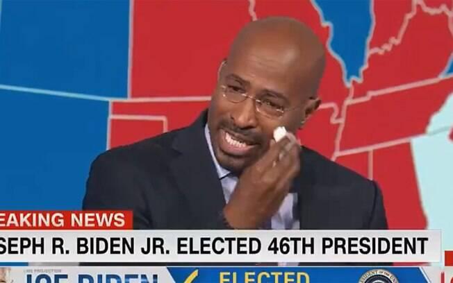 Van Jones, comentarista da CNN, chora ao vivo ao falar da vitória de Biden