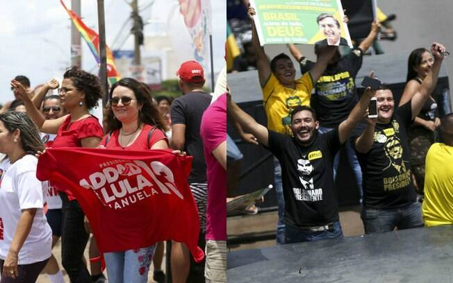 Atos em favor aos candidatos à Presidência, Fernando Haddad e Jair Bolsonaro, ocorreram simultaneamente em Brasília