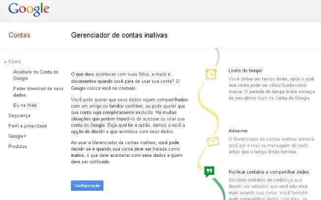 Google lança gerenciador de contas inativas